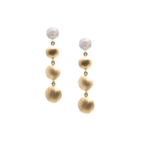Lente 4 Tier Earrings with Pave Diamond in 18k YG