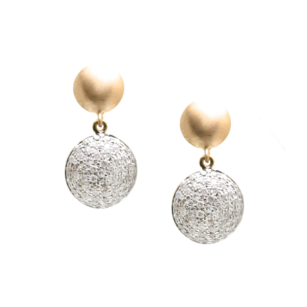 Lente Two Tier Earrings with Pave Diamond in 18k Gold