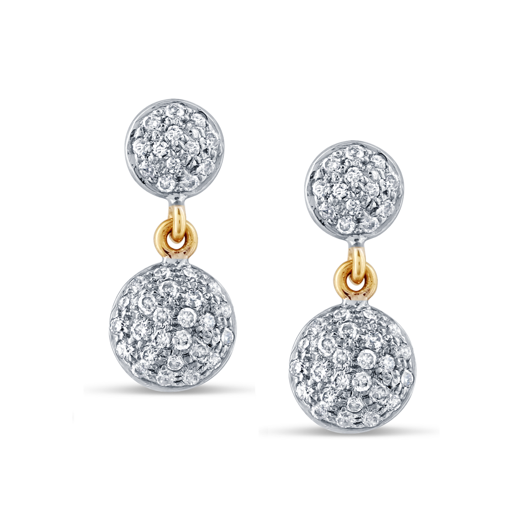 18k Yellow Gold 2 Tier Earrings with Diamond Lente