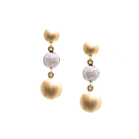 18k Yellow Gold 3 Tier Earrings with Diamond Lente