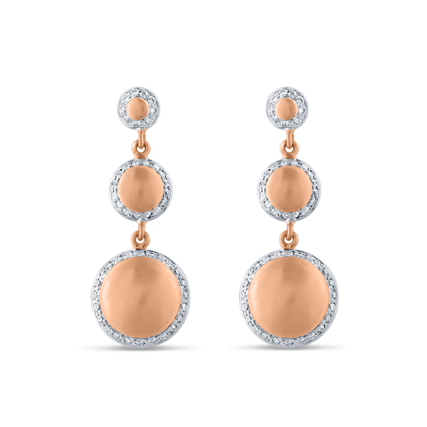 Lente 3 Tier Earrings with Pave Diamond frame In 18K Rose Gold