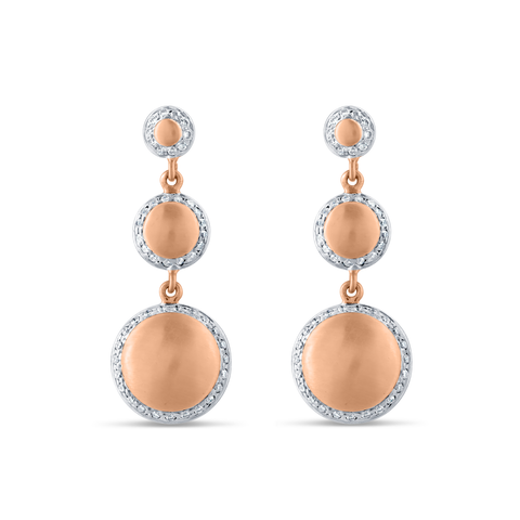 Lente Three Tier Earrings with Pave Diamond In 18K Gold