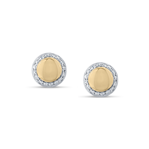 Lente Stud Earrings in 18k Yellow Gold With Pave Diamond