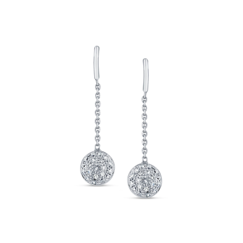 Diamond Lente Dangle Earrings In 18K White Gold