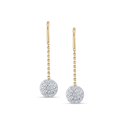 Diamond Lente Dangle Earrings In 18K Yellow Gold
