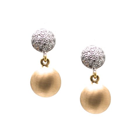 Lente Earrings with Pave Diamond in 18K Yellow Gold