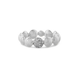 Lente ring with diamond accent in 18k White Gold