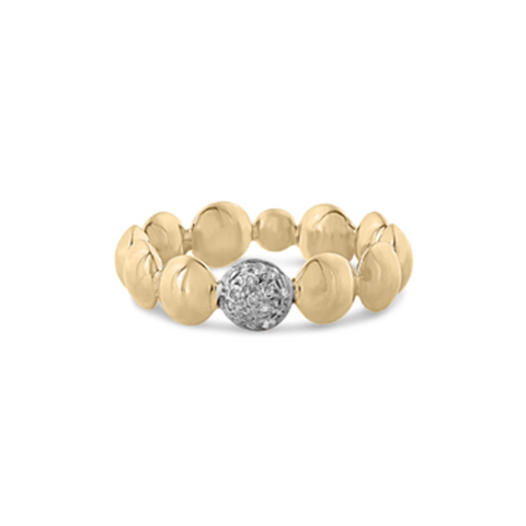Lente ring with diamond accent in 18k Yellow Gold