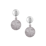Lente Two Tier Earrings with Pave Diamond in 18k Yellow Gold