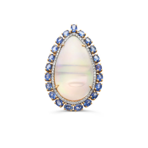 Ethiopain Opal P/S, Blue Sapphire & Diamond Ring in 18k Gold