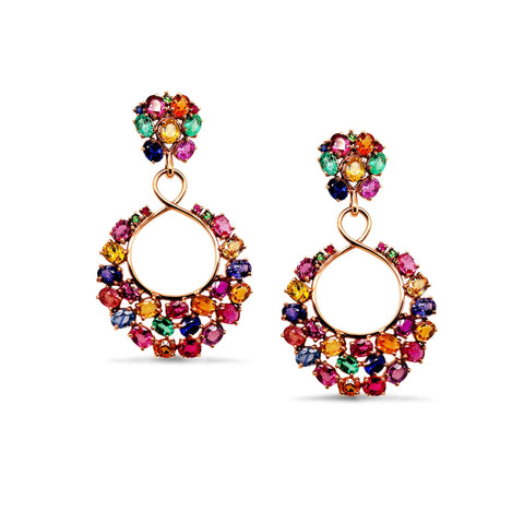 Multicolor Stones Earring in 18K YG