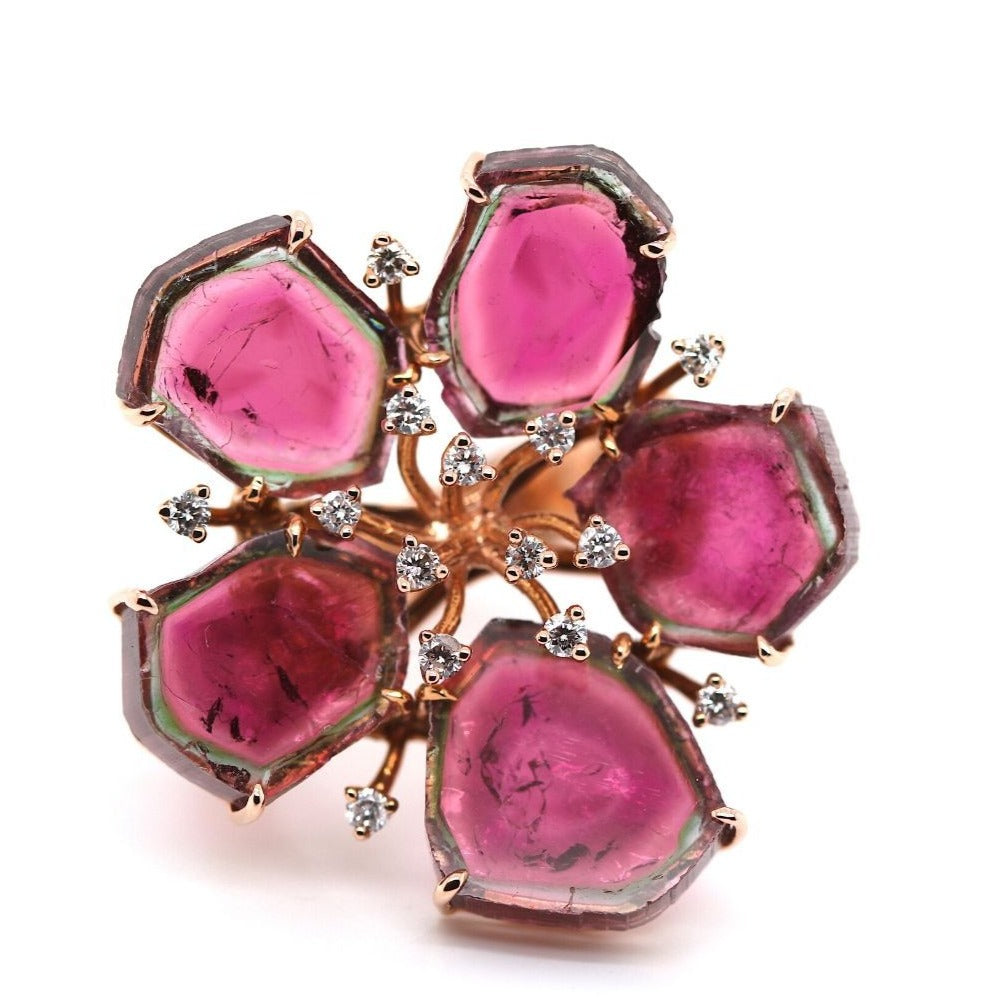 Bicolor Tourmaline and Diamond Flora Ring In 18k Rose Gold