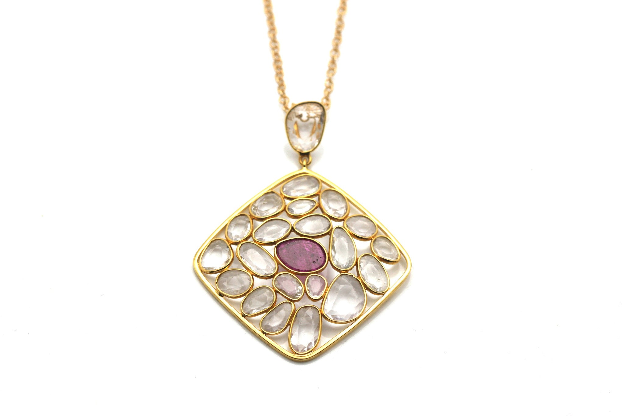 18K Yellow Gold Pendant with White Sapphire and Ruby