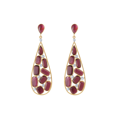 Pink Tourmaline & Diamond Earrings in 18K Yellow Gold