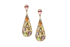 Multicolor Stones & Diamond Earrings In 18K Yellow Gold