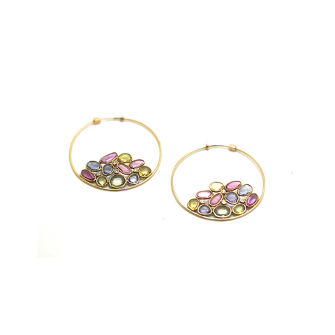 Multicolor Spinel Mosaico Hoop Earrings in 18K Yellow Gold