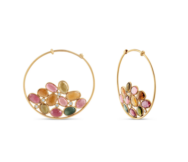 Multicolor Stones Hoop Earrings In 18K Yellow Gold