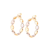 Gemstones Hoop Earrings in 18K Yellow Gold - Medium