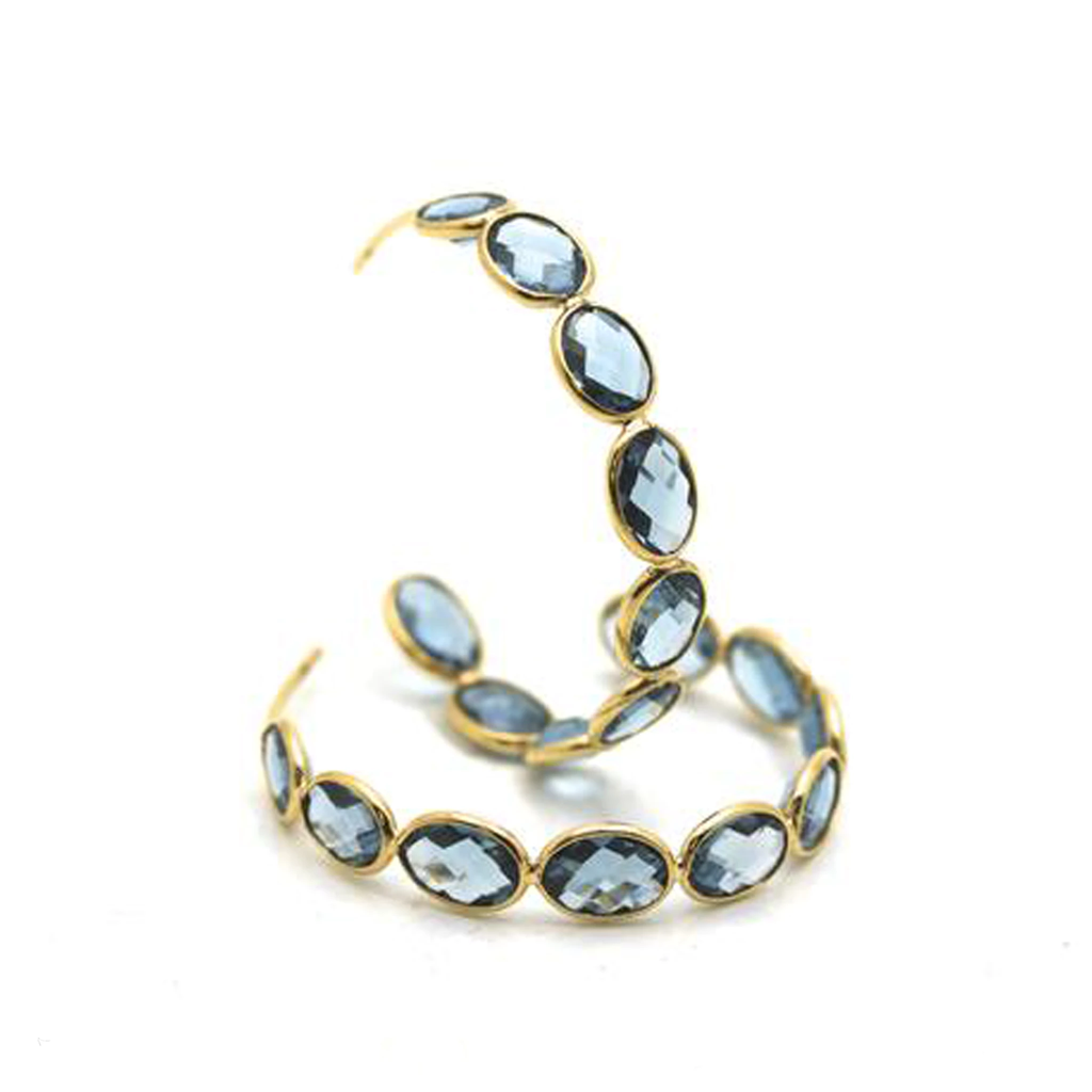 Gemstone Large Hoop Earrings in 18K Yellow Gold