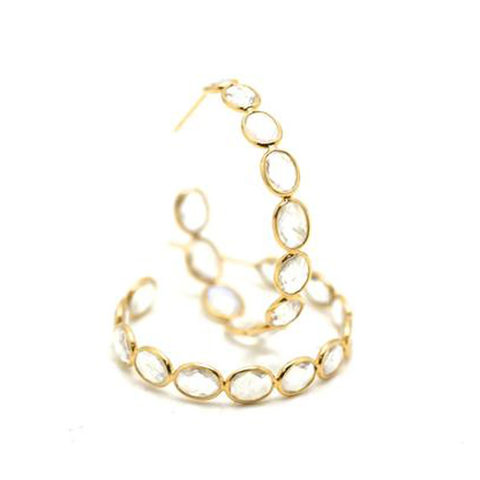 18k Yellow Gold Large Gemstone Hoop Earrings