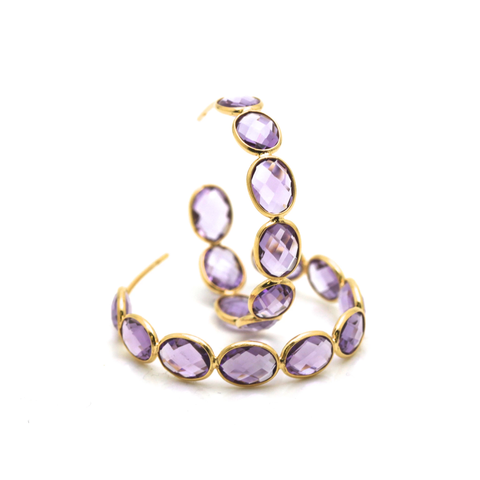 18k Yellow Gold Medium Gemstone Hoop Earrings in Amethyst