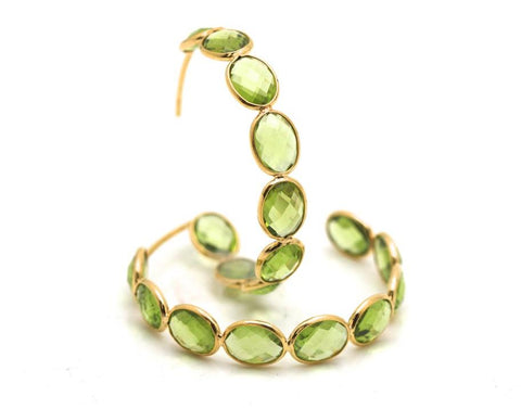 18k Yellow Gold Medium Gemstone Hoop Earrings in Peridot