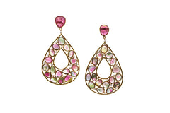Bicolor Tourmaline and Diamond Earrings in 18K Yellow Gold