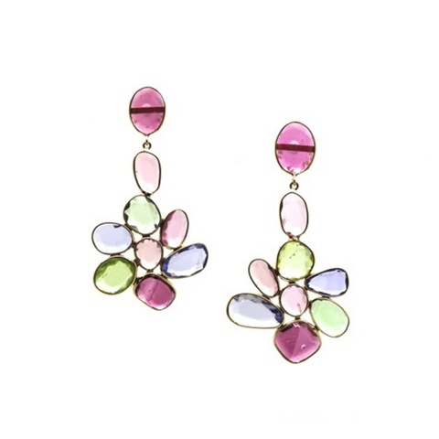 Gemstone Mosaico Earrings in 18K Yellow Gold