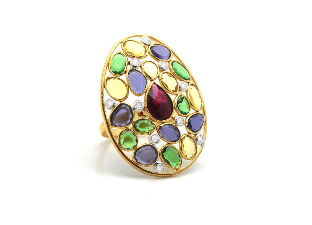 Multicolor Stone & Diamond Ring In 18K Yellow Gold