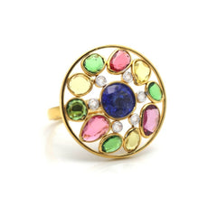 Tanzanite, Tsavorite Garnet, Multicolor Tourmaline and Diamond Ring in 18K Yellow Gold
