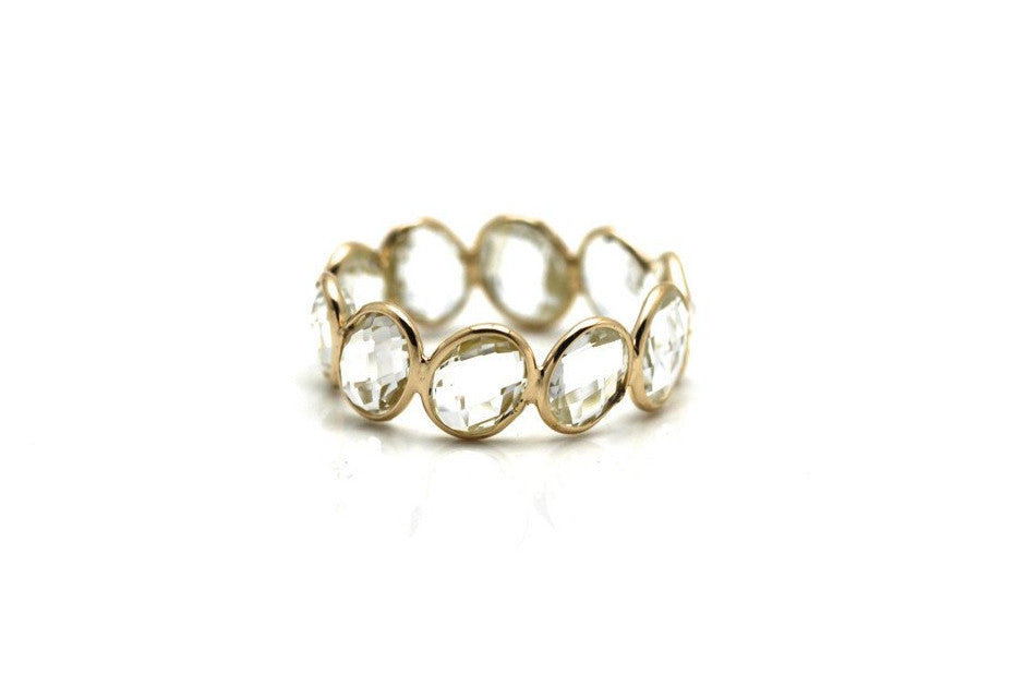 Crystal Quartz Stackable Ring Bands In 18K Yellow Gold