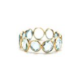 Blue Topaz Slices Stackable Ring Bands In 18K Yellow Gold