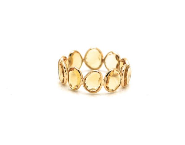 Citrine Slices Ring Bands In 18K Yellow Gold