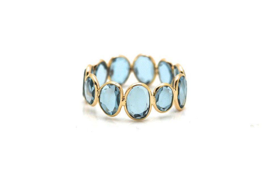 London Blue Topaz Slices Ring Bands In 18K Yellow Gold