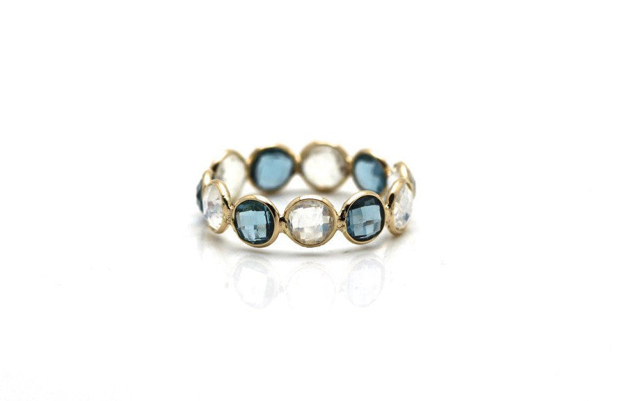London Blue Topaz & Rainbow Moonstone Round Ring Bands In 18K Yellow Gold