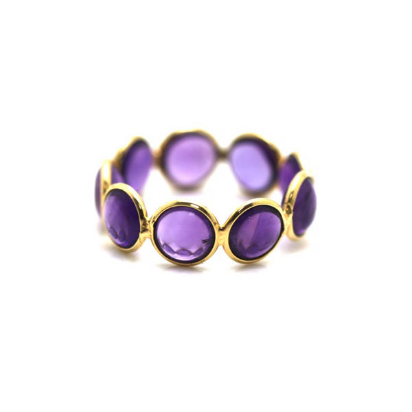 Amethyst Gemstone Stackable Ring Band in 18K Yellow Gold