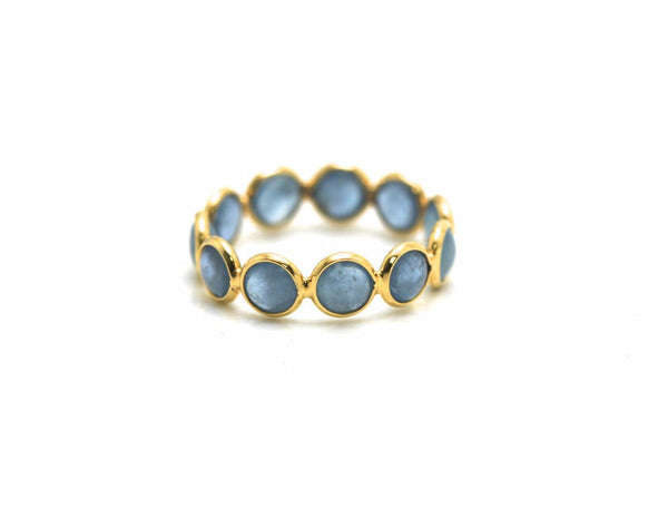 Aquamarine Gemstone Stackable Ring Band in 18K Yellow Gold