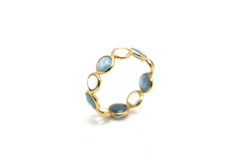 Aquamarine & Rainbow Moonstone Round Stackable Ring Band In 18K Yellow Gold