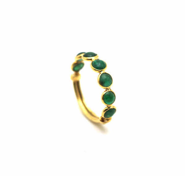 Emerald Round Stackable Ring Bands With Adjustable Shank In 18K Yellow Gold