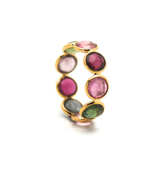 Multicolor Tourmaline Round Stackable Ring Band In 18K Yellow Gold