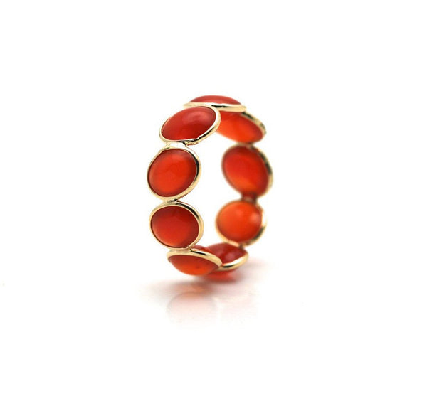 Carnelian Oval Cab Stackable Ring Band in 18K Yellow Gold