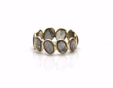 Labradorite Stackable Ring Band in 18K Yellow Gold