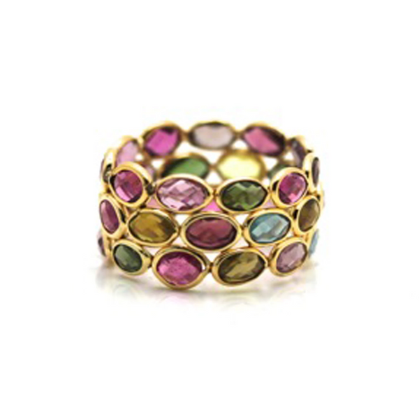 Multicolor Tourmaline Triple Row Ring In 18K Yellow Gold