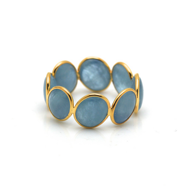 Gemstone Stackable Cabochon Oval Ring Band in 18k Yellow Gold