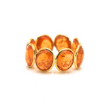 Mandarine Garnet Stackable Ring Band in 18k Yellow Gold