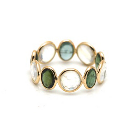 Rainbow Moonstone and Green Tourmaline Stackable Ring Band in 18K Yellow Gold