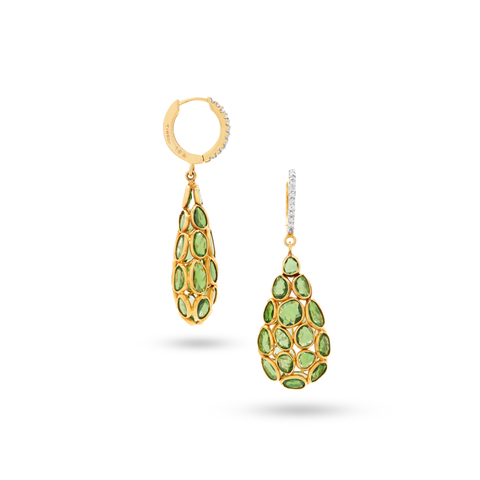 18K Yellow Gold, Tsavorite Garnet and Diamond Earrings