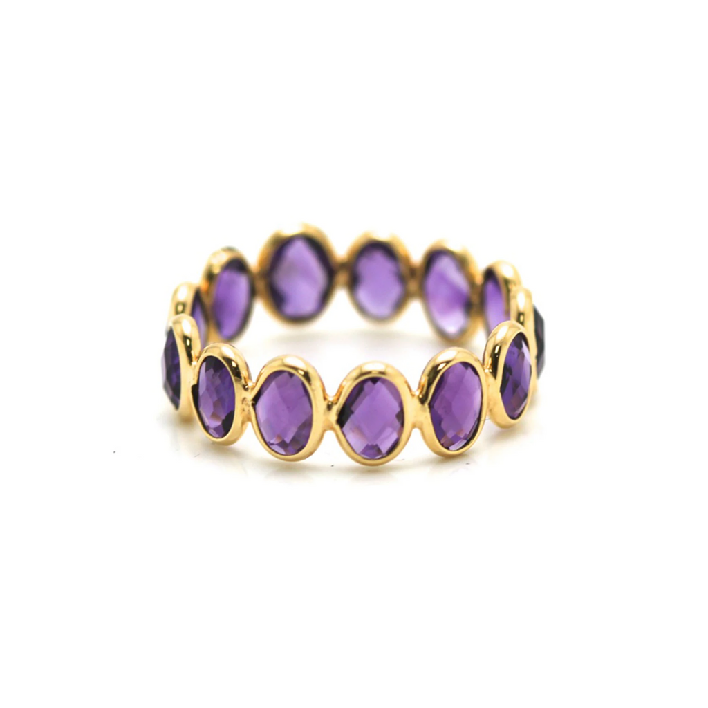 Gemstone Stackable Faceted Oval Ring Band in 18K Yellow Gold