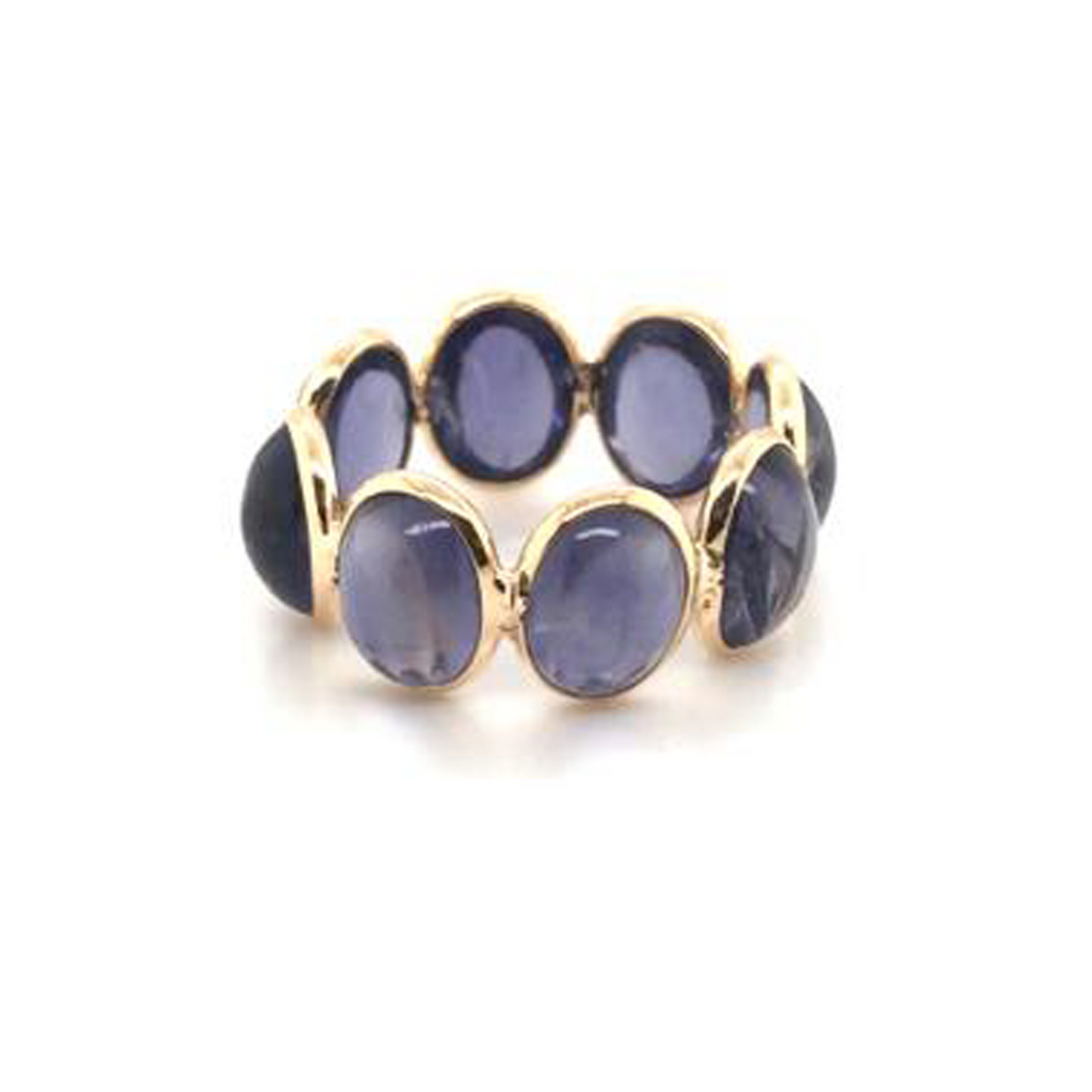 Blue Sapphire Oval Ring in 18kt Yellow Gold