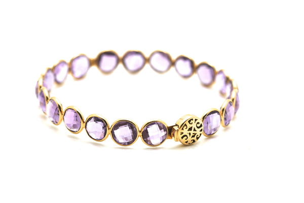 Amethyst Bangle Bracelet in 18k Yellow Gold